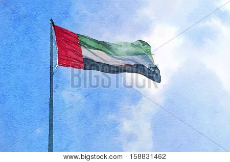 A big flag of UAE flying high in the sky. UAE celebrates National Day on 2nd December every year. Watercolor illustration.