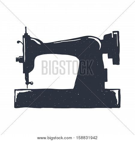 Hand-drawn vintage sewing machine. Sketch style. Vector illustration. T-shirt print. Poster. Thread. Needlework