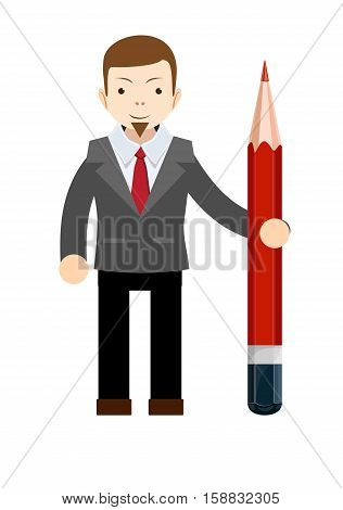 Business man with pencil . Stock vector illustration