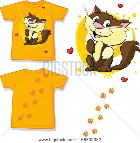 cute brown cat printed on shirt - vector illustration