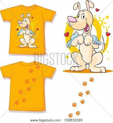 cute brown dog printed on shirt - vector illustration