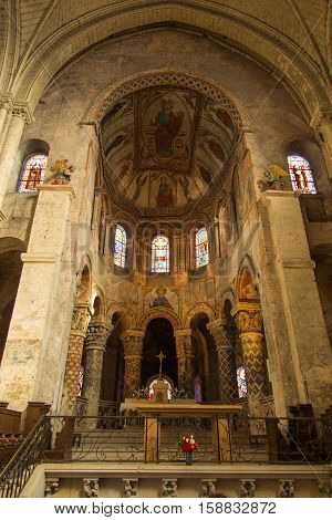 Poitiers France - September 12 2016: Inside the Church of St. Radegund at Poitiers in France