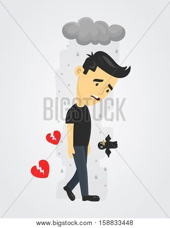 heartbroken sad young man guy. depression vector flat illustration fun concept. Broken heart love Despair Loneliness Unhappy Heartbroken