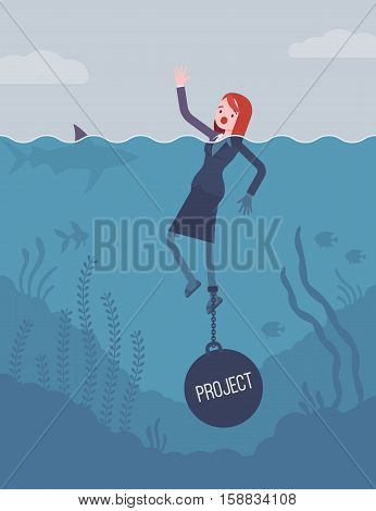 Businesswoman drowning chained with a weight Project, facing problems with project, loosing profitable customers, unhappy and unproductive startup. Cartoon flat-style concept illustration