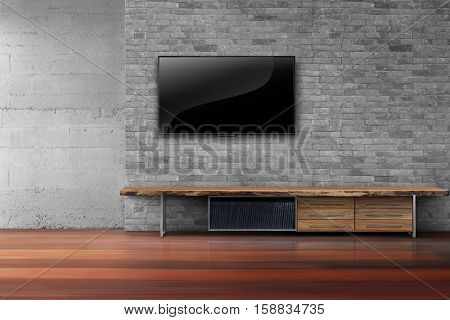 Empty living room led tv on bricks wall with wooden table old wood floor interior