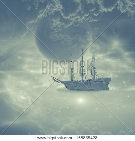 Sailing ship with full sails in fantastic scene   3D Render  Some elements provided courtesy of NASA