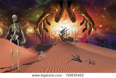 God's hands over surreal red desert. Skeleton, hourglass and winged clocks. Ancient ship on sand dune and figure of man in a distance.   3D Render  Some elements provided courtesy of NASA