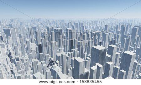 Futuristic city   3D Render