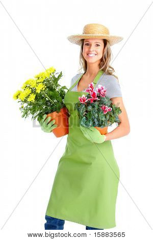 Gardening. Woman worker with flowers. Isolated over white background