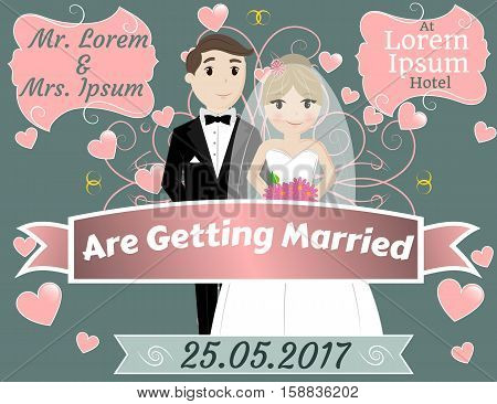 Wedding Celebration, Mr and Mrs Getting Married, Invitation, Greeting, EPS10