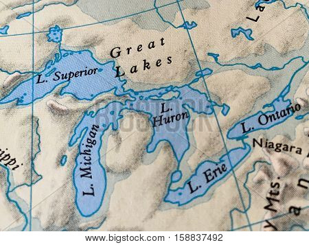 Michigan Mitten and Great Lakes on a  Vintage Map