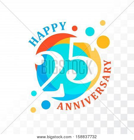 25th Anniversary emblem. Vector template for anniversary birthday and jubilee