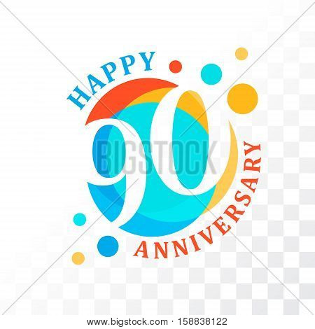 90th Anniversary emblem. Vector template for anniversary birthday and jubilee