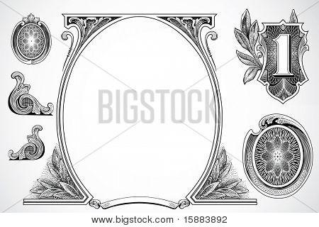 Vector denaro e pezzi di certificato