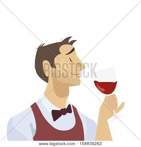 Sommelier is considering a glass of red wine. Man character with wine. Flat design.