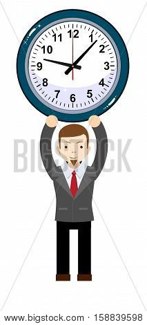 funny cartoon businessman with clock. Stock vector illustration