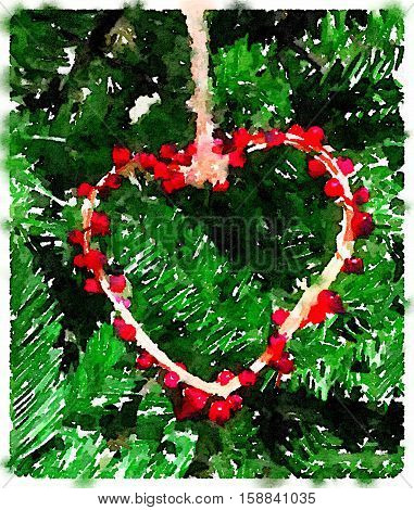 Digital watercolor painting of a heart decoartion made of red berries. The ornament is hanging on a Christmas tree. With space for text.