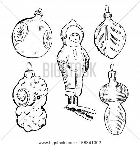 Set of vintage hand drawn balls and toys. Christmas and New Year design elements.