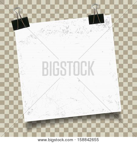 Vintage paper with binder clip on checkered background. Vector illustration.