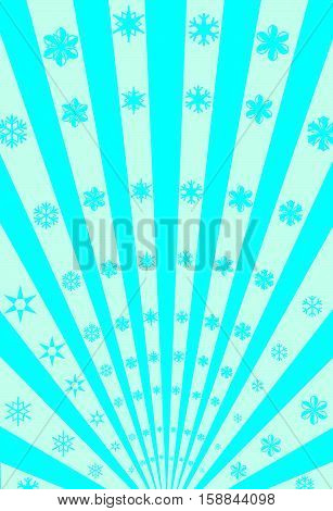 Vector Snowflakes and Stripes Radiation Poster Background