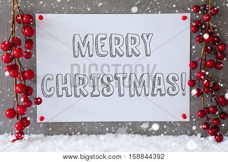 Label With English Text Merry Christmas. Red Christmas Decoration On Snow. Urban And Modern Cement Wall As Background With Snowflakes.