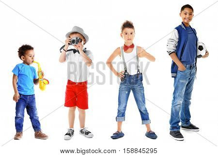 Collage of cute children on white background