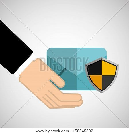 security concept hand with email vector illustration eps 10