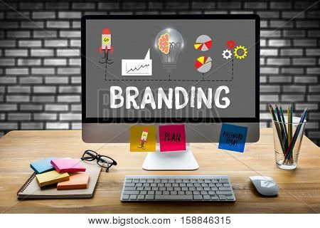 Business Branding , Branding Word , Brand Building Concept , Businessman Brainstorming About Brandin