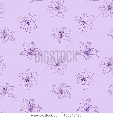 Purple seamless vector pattern with lily.  Floral lilac background with lily.