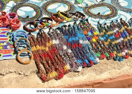 Gauteng, Lesedi Cultural Village. South Africa - 12 March, 2016. Beautiful handmade bead work done by the Zulu, Xhosa, Pedi, Basotho and Ndebele tribes people.