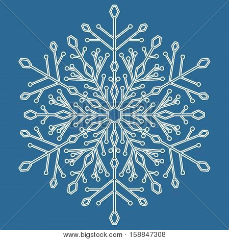 Round snowflake. Abstract winter ornament. Blue and white colors