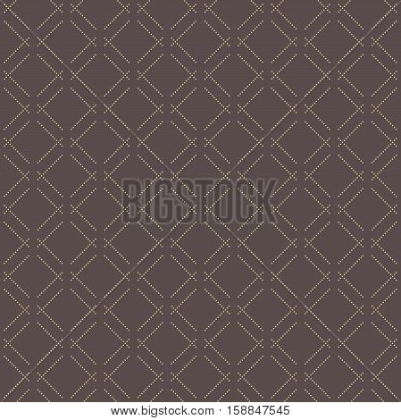 Geometric repeating pattern. Seamless abstract modern texture for wallpapers and backgrounds. Brown and golden pattern