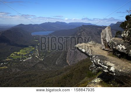 Rocks and mountains in background at Baroka look out near Halls Gap in Grampians National Park