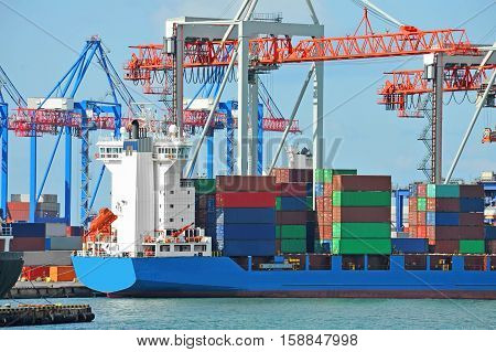 Port Cargo Crane, Ship And Container