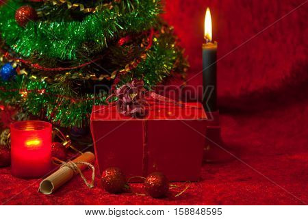 Christmas Tree With Burning Candle