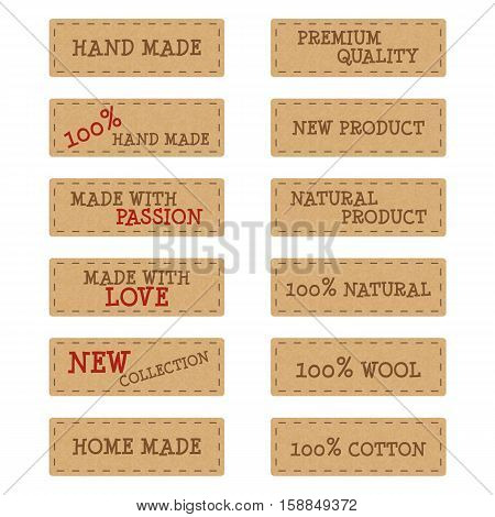 Set of textured kraft paper labels or stickers for hand made products eps10 vector illustration isolated on white background