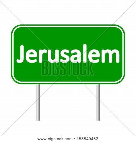 Jerusalem road sign isolated on white background.