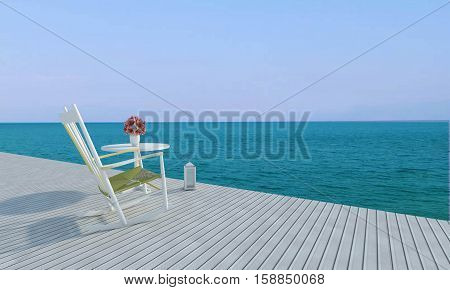 Beach Lounges With Sundeck On Sea View For Vacation And Summer-3D Rendering