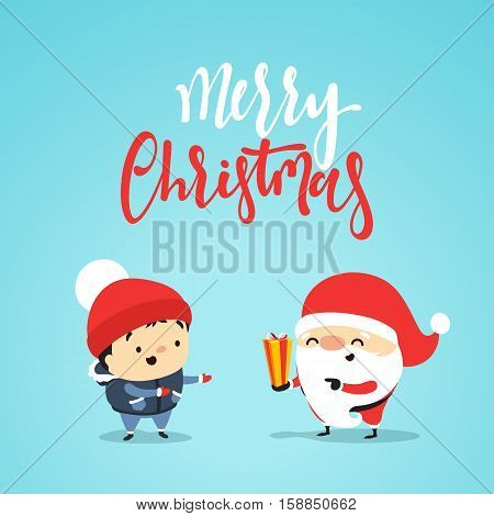 Santa Claus gives gift to small child, a boy. Christmas character for greeting cards, banners, posters, web. Cute people in the style of the design flat. Funny Santa Claus with a child