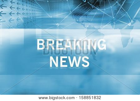 Graphical Breaking News Background with news text Blue Theme Background with White Breaking News Text.