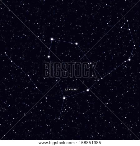 Sky Map with the name of the stars and constellations. Astronomical symbol constellation Serpens