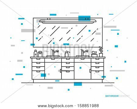 Cabinet with sinks vector line art illustration. Line graphic design of bathroom modern house apartment hotel. Creative concept of interior design of bathroom with lights sinks and mirror.
