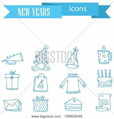 Vector of New Year icons element collection stock