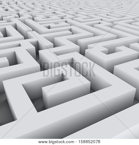 Big endless white maze background. 3D rendering.