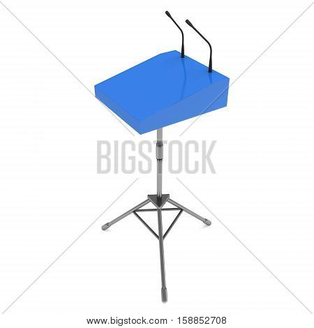 Speaker Podium on Tripod. Blue Tribune Rostrum Stand with Microphones. 3d render isolated on white background. Debate, press conference concept
