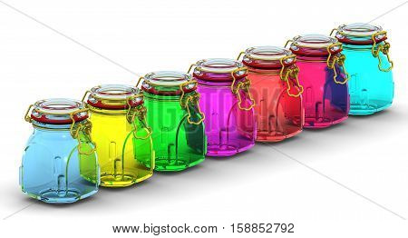 Multicolored glass jars for canning in row on a white surface. With locked lid. Isolated. 3D Illustration