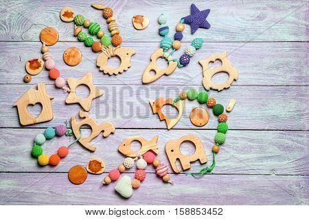 Wooden Toys For Toddlers, Laid Out In A Circle, With A Free Space For The Inscription