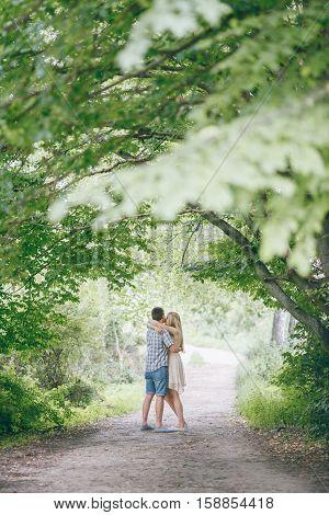 loving couple walking park kissing HD best