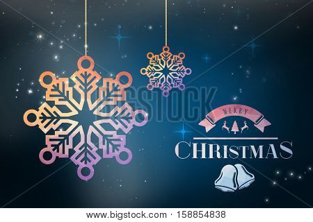 Merry christmas message against blue background with vignette