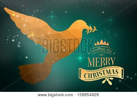 Christmas message against green background with vignette